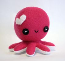 Hot pink Valentine octopus plush by jaynedanger
