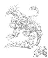 Mecha Dragon - Uncolored by Seylyn