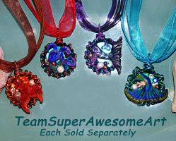 Mermaid fin and octopus bottle cap necklaces by SuperFlashDance