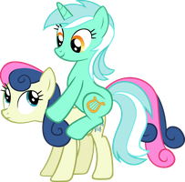 Lyra and Bon Bon by Checker-Pony