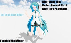 MMD.::Lat Long Hair Miku Edit::. by iinoone