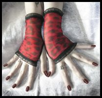 Red Leopard Fingerless Gloves by ZenAndCoffee