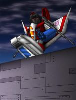 Starscream guarding a wall by WaywardInsecticon