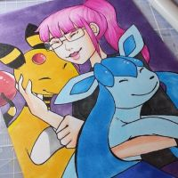 [Copic Commission] - Shannon, Ampharos and Glaceon by ditto9