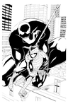 Symbiote Chases Spider by DRMoore