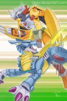 WarGreymon + MetalGarurumon by tiikay