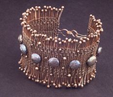 Woven Copper Wire Pearl Cuff by WiredElements
