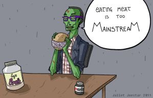 hipster zombie by jaliet