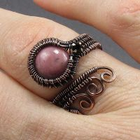 Copper Rhodonite Adjustable Ring by Gailavira