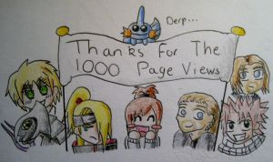 Thanks for the 1000 Views :D by anime-wolf-fan-girl