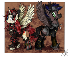 :COMMISH: Feathered Steamponies by Ruby-Orca-616
