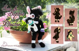 Anthro Cats Sou and Sophie plushie by Samurai-Akita