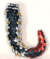 Black, Frost, Gold, Red Dragon Tail by SerenFey