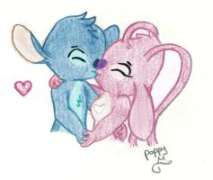 Angel and Stitch kissing by bonnieboo0
