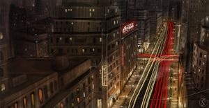 Speedpainting 2 cityscape by WackoShirow