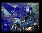 Trypticon vs Metroplex by LivioRamondelli