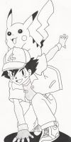 ash and pikachu by crowshot27