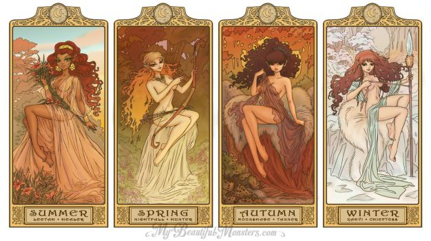 ElfQuest Art Nouveau Seasons by MyBeautifulMonsters
