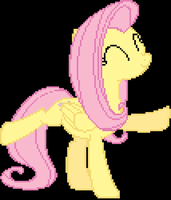 Fluttershy Happy Stand Pixelated by Coltboy