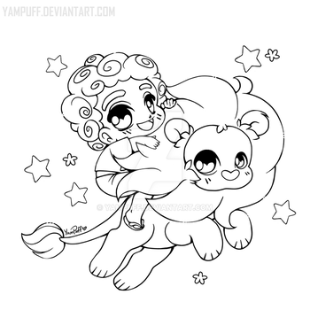 Steven and Lion ::Open Lineart:: by YamPuff