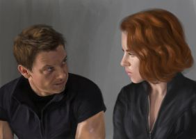 Barton and Romanoff - The Avengers by BlackRabbitArtisan