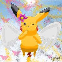 Winged Shiny Pikachu by Joana-the-Raichu