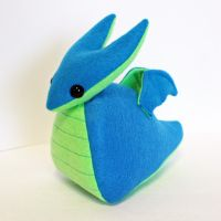 Blue and green dragon plushie by jaynedanger