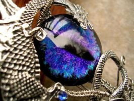 Blue and Violet Dragon Necklace - Detail by LadyPirotessa