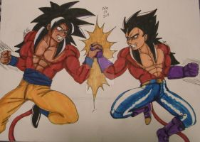 SSJ4 Son Goku VS SSJ4 Vegeta by AnimeMangaBerserker