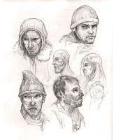 Face studies - rough sketches by MIKECORRIERO