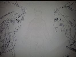 !WIP! 'Sakura VS Hinata-They fight for him!' !WIP! by michinoli