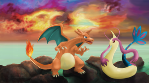 Charizard and Milotic by V-Shine