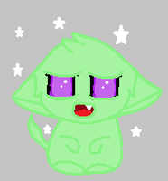 Wittle cute purple eyed green mouse thing by Eutniz