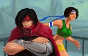 vincent and yuffie _art trade_ by airwalkinman