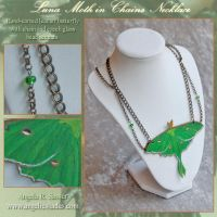 Luna Moth in Chains Necklace by Angelic-Artisan
