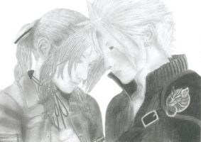 Cloud and Aerith by PrincessMar1e