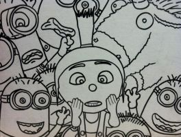 Agnes Unicorn Minions from Despicable Me outline by sampson1721