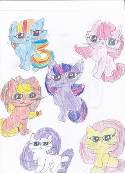 Mane 6 as cats by TimeLordOfTheMoon