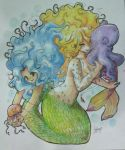 the sirens (watercolor pencil) by selene-bunny