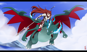 Commission - Cordelia x Mega Charizard by dannex009