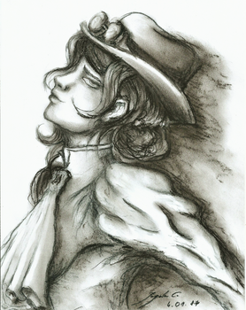 Steampunk Lady (charcoal) by CyanBerryy