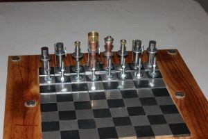 Steampunk Chess Board With Pieces by Mezziness