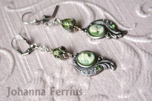 Earrings Cameo Antiqued Silver Victorian Jewelry by Johanna-Ferrius