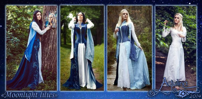 Comission elven dress 'Moonlight lilies', 2014 by Flower-in-dust