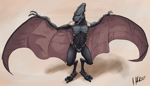 commission: alien pterodactyl thing by Biolyt1c