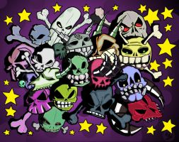 Punk Rock Skulls_colored by oatmealzombies
