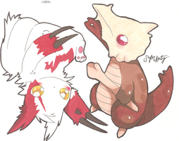 Zangoose and Marowak by PinkMelodii