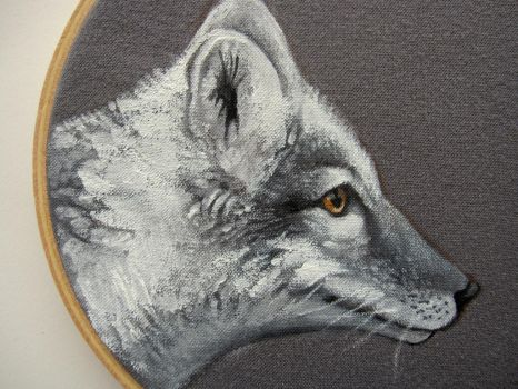 Arctic fox embrdoiery hoop painting by Blue-MonsterOwO