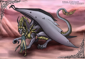 Fang and Bahamut by calicoJill