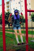 Playing on the swing by Teodorak